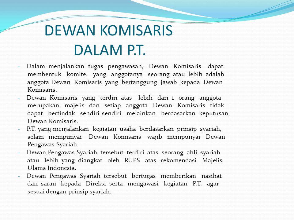 DEWAN KOMISARIS DALAM P.T.