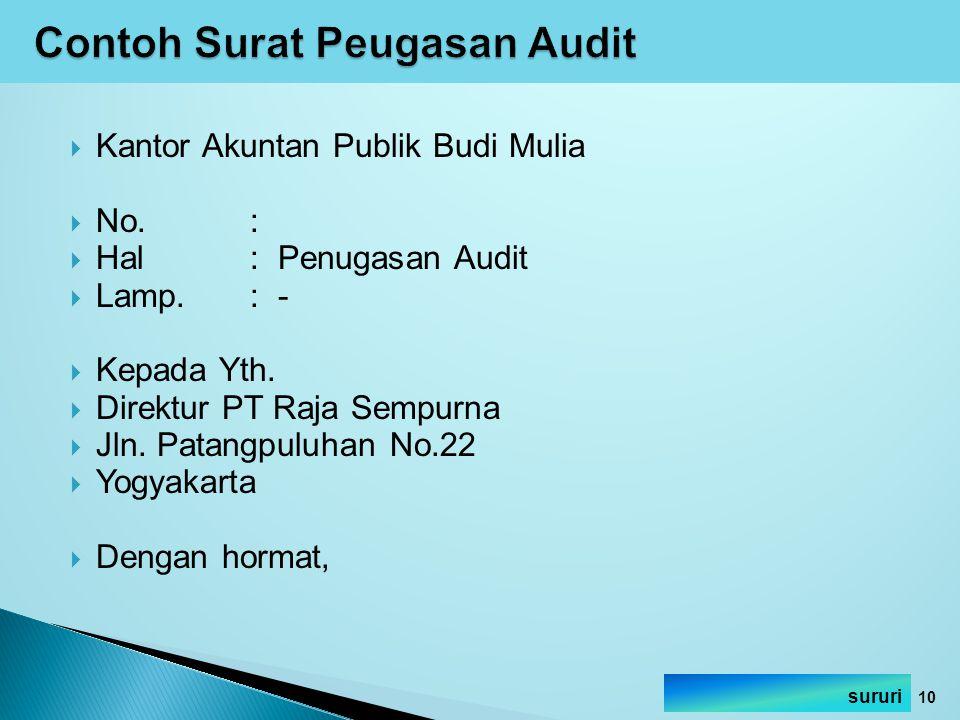Contoh Surat Peugasan Audit