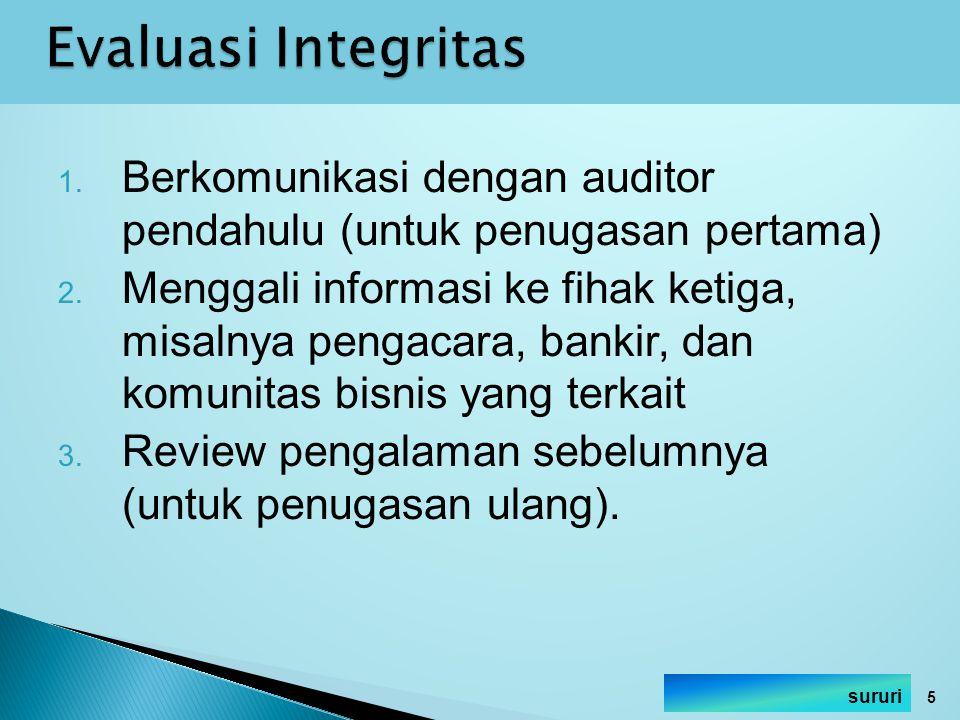 Evaluasi Integritas Berkomunikasi dengan auditor pendahulu (untuk penugasan pertama)