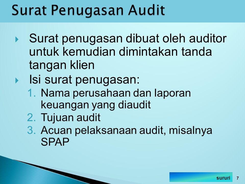 Surat Penugasan Audit Surat penugasan dibuat oleh auditor untuk kemudian dimintakan tanda tangan klien.
