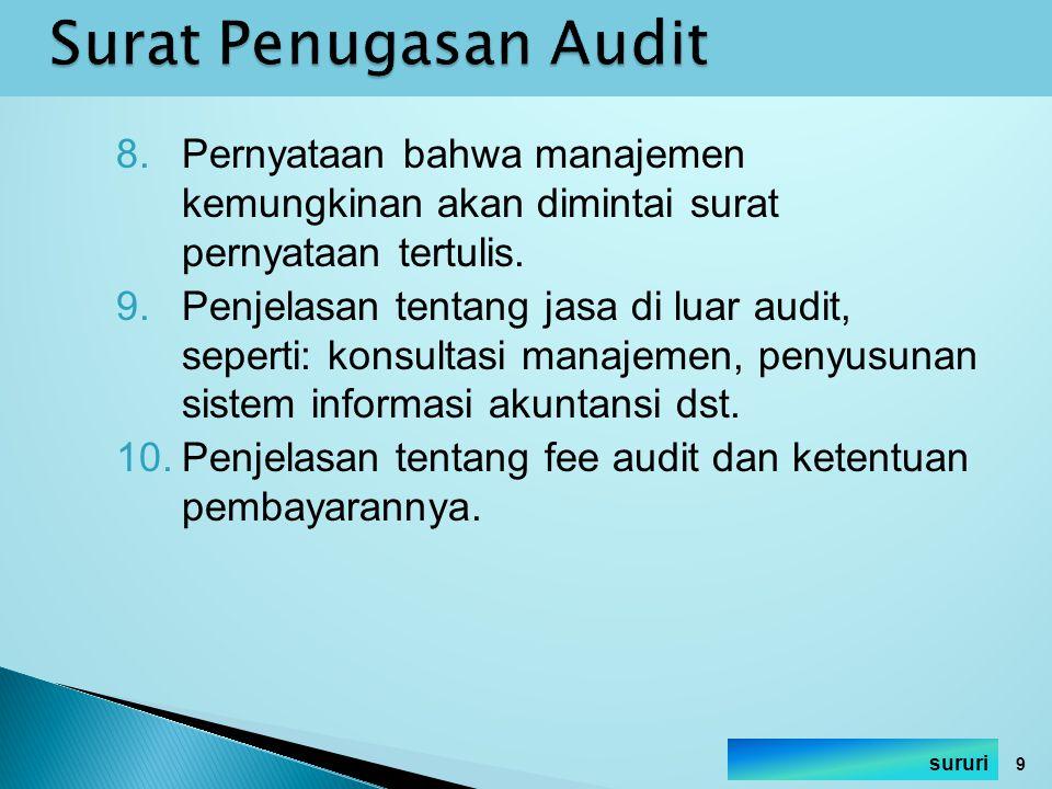 Surat Penugasan Audit Pernyataan bahwa manajemen kemungkinan akan dimintai surat pernyataan tertulis.