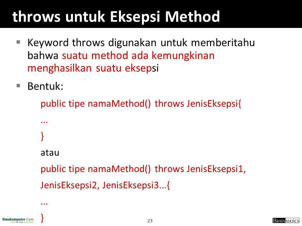 throws untuk Eksepsi Method