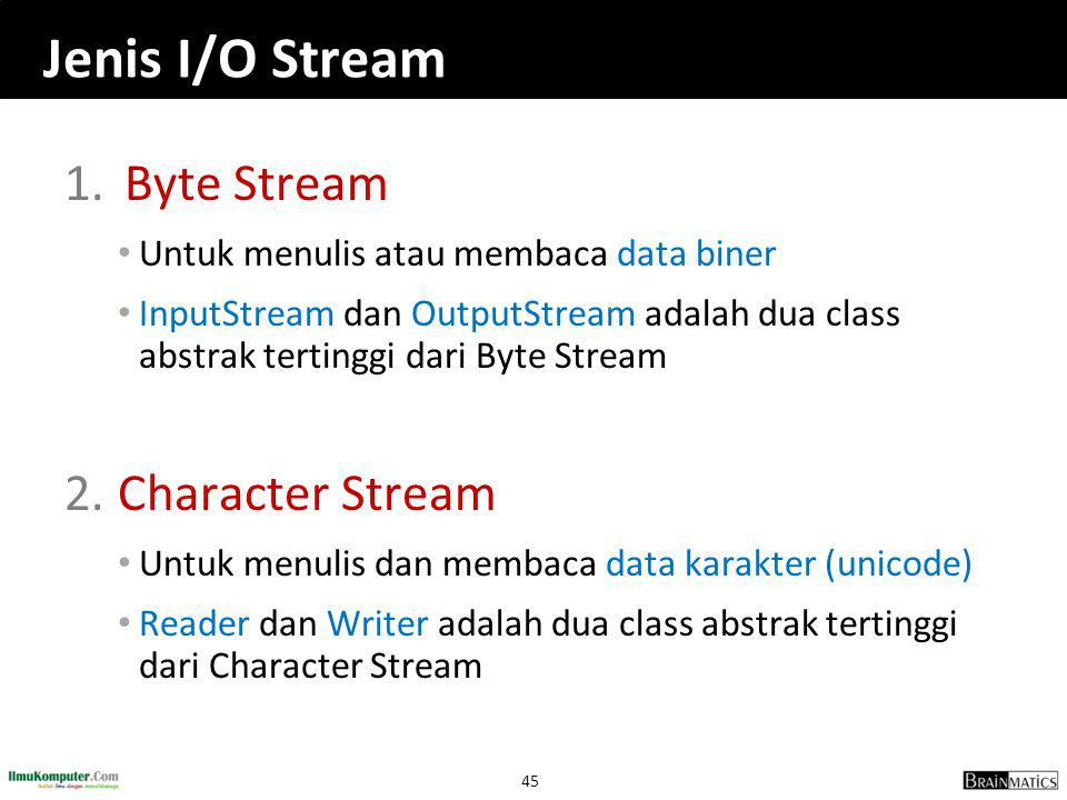 Jenis I/O Stream Byte Stream Character Stream