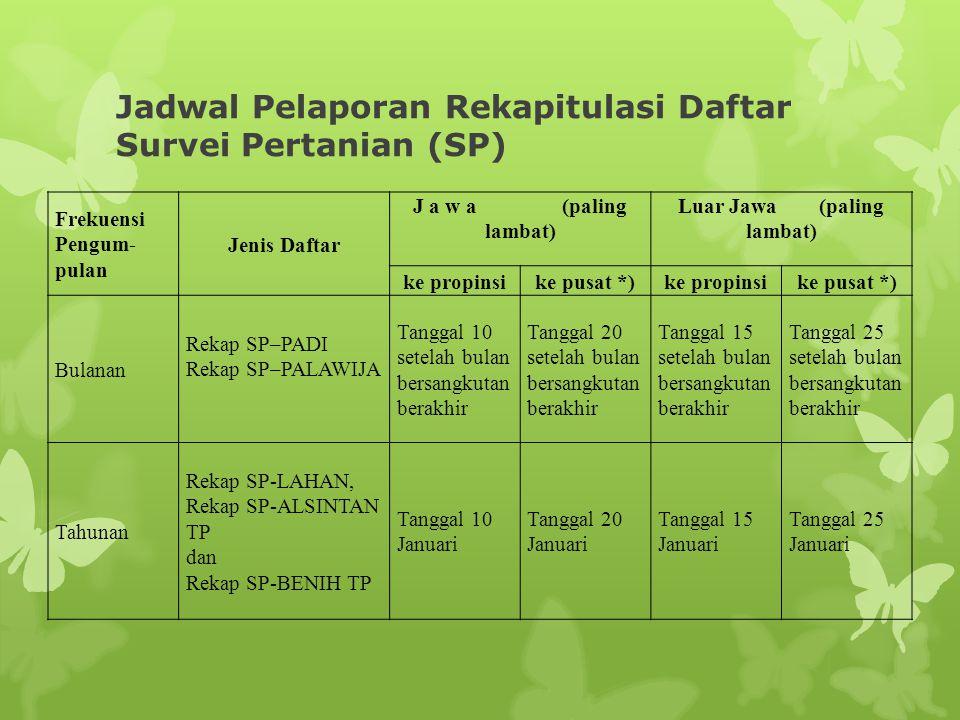 Jadwal Pelaporan Rekapitulasi Daftar Survei Pertanian (SP)