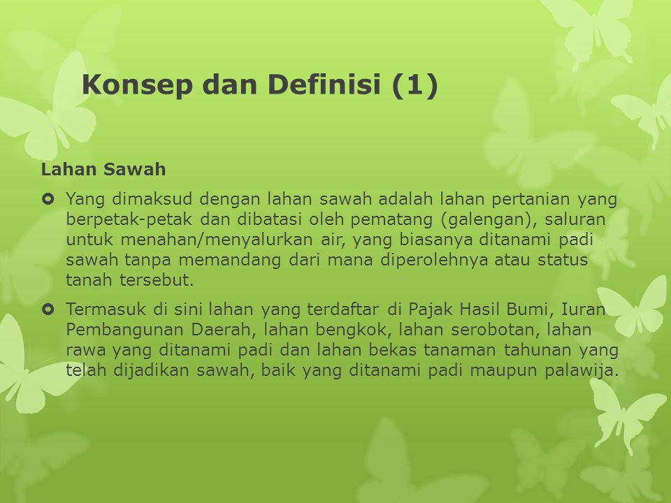 Konsep dan Definisi (1) Lahan Sawah