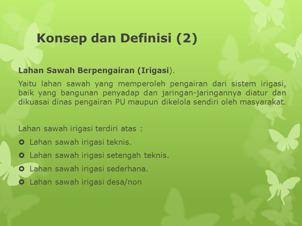 Konsep dan Definisi (2) Lahan Sawah Berpengairan (Irigasi).
