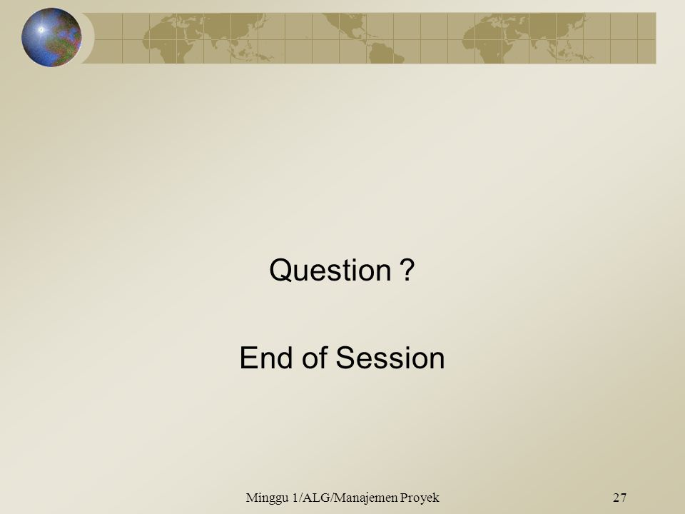 Question End of Session
