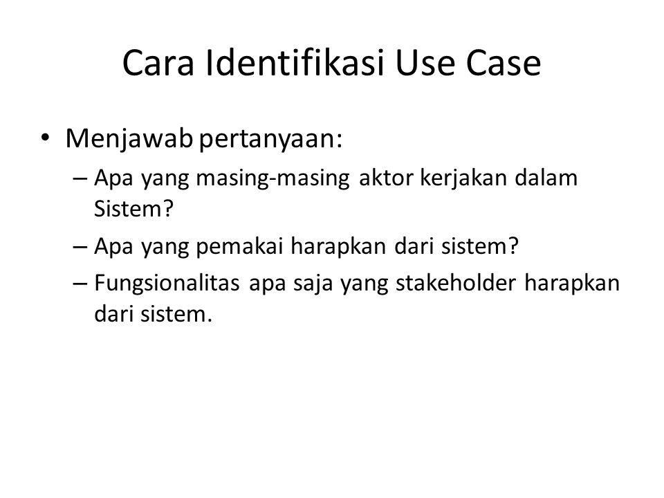 Cara Identifikasi Use Case