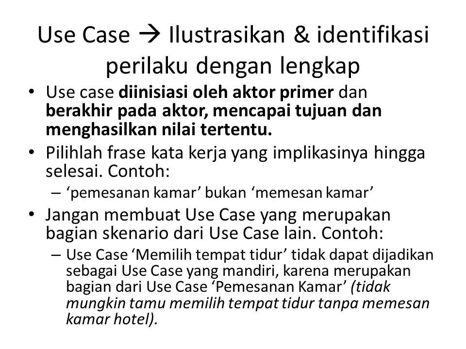 Use Case  Ilustrasikan & identifikasi perilaku dengan lengkap