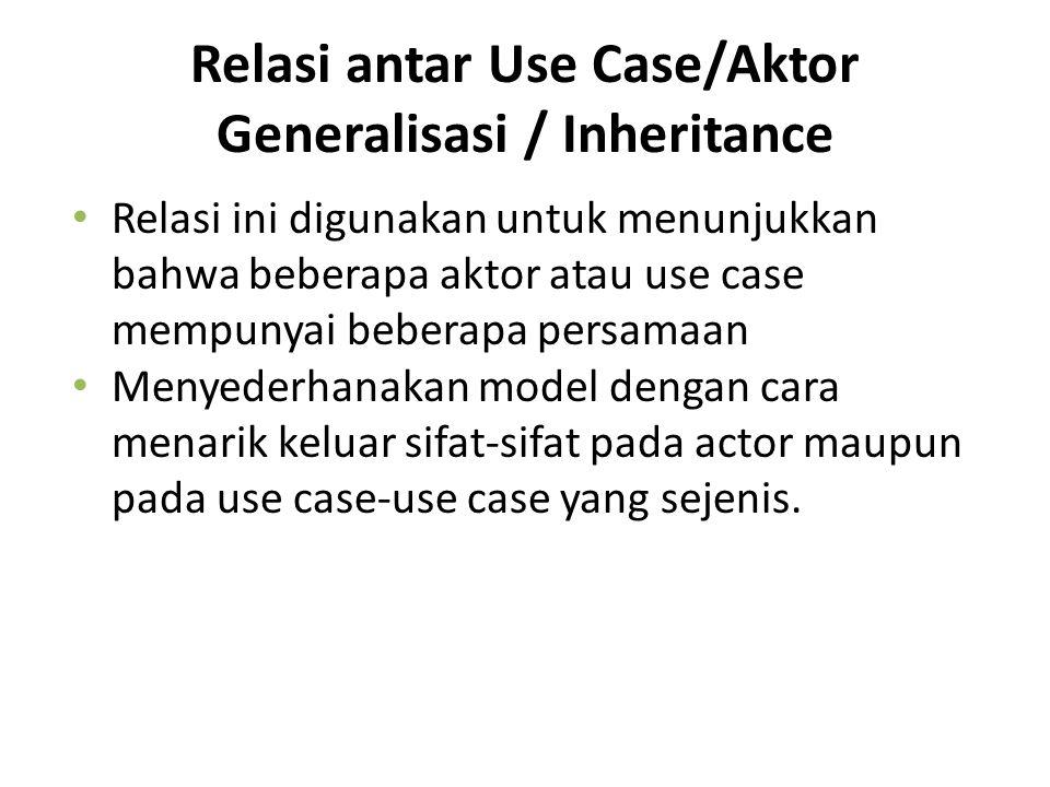Relasi antar Use Case/Aktor Generalisasi / Inheritance