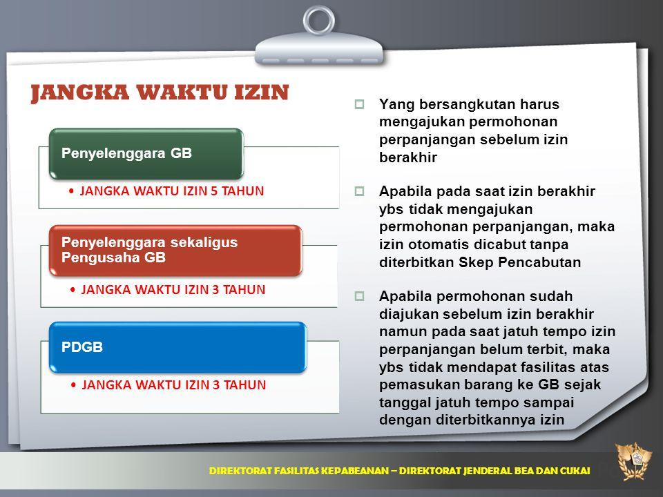 JANGKA WAKTU IZIN Yang bersangkutan harus mengajukan permohonan perpanjangan sebelum izin berakhir.