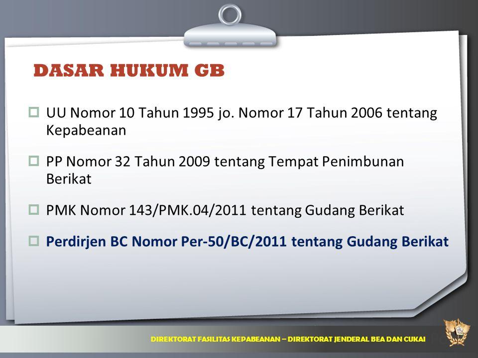 DASAR HUKUM GB UU Nomor 10 Tahun 1995 jo. Nomor 17 Tahun 2006 tentang Kepabeanan. PP Nomor 32 Tahun 2009 tentang Tempat Penimbunan Berikat.