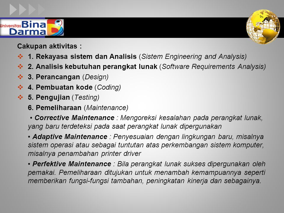 Cakupan aktivitas : 1. Rekayasa sistem dan Analisis (Sistem Engineering and Analysis)