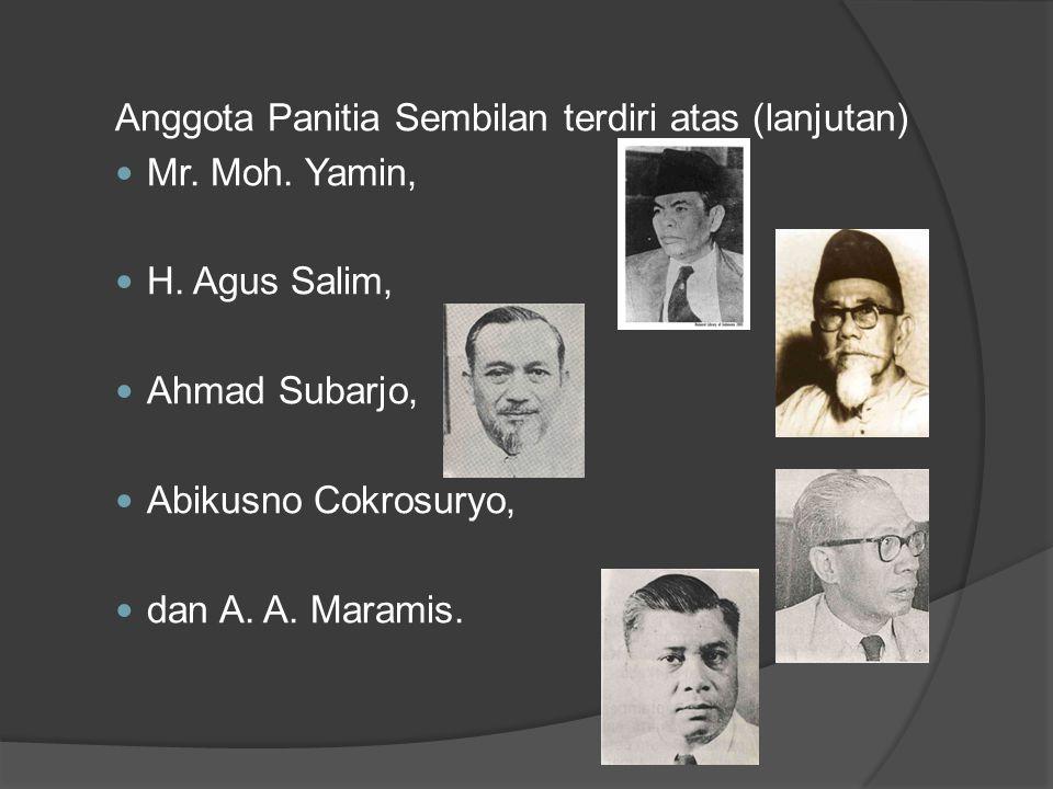 Anggota Panitia Sembilan terdiri atas (lanjutan)