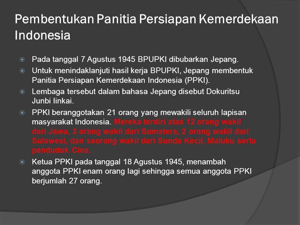 Pembentukan Panitia Persiapan Kemerdekaan Indonesia