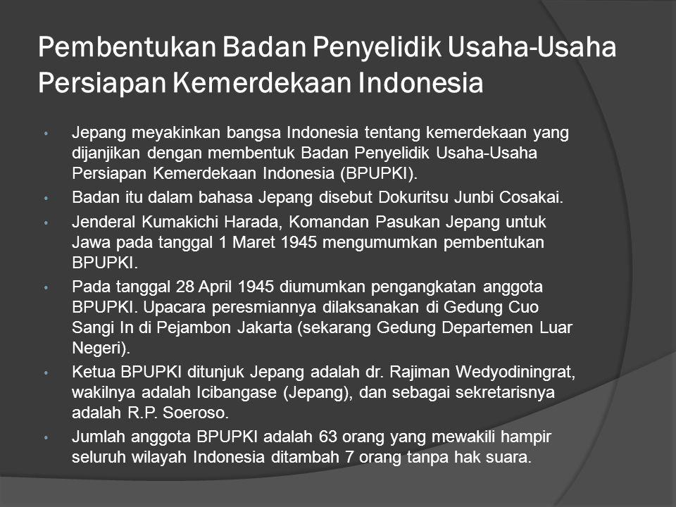 Pembentukan Badan Penyelidik Usaha-Usaha Persiapan Kemerdekaan Indonesia