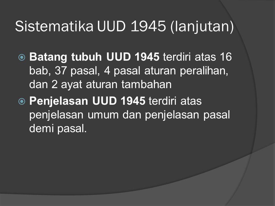 Sistematika UUD 1945 (lanjutan)