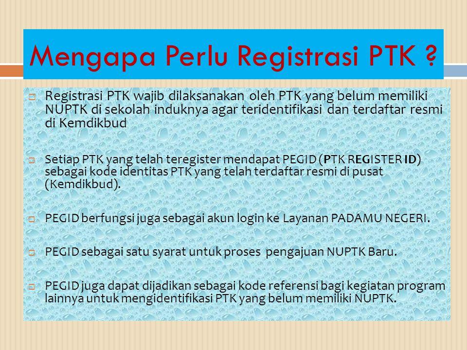 Mengapa Perlu Registrasi PTK