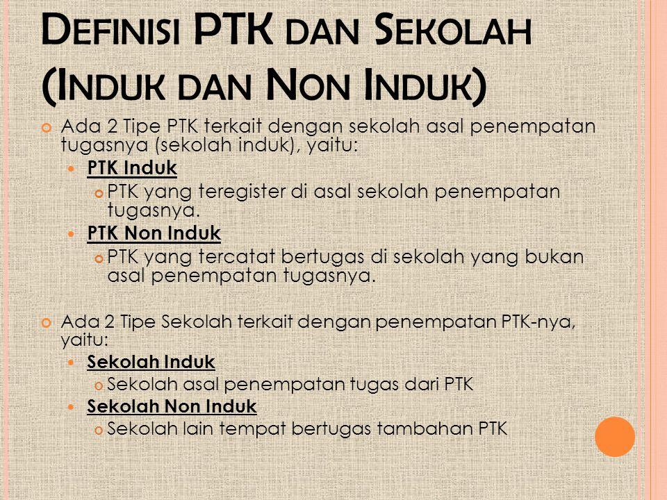 Definisi PTK dan Sekolah (Induk dan Non Induk)