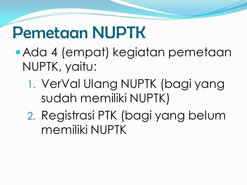 Pemetaan NUPTK Ada 4 (empat) kegiatan pemetaan NUPTK, yaitu:
