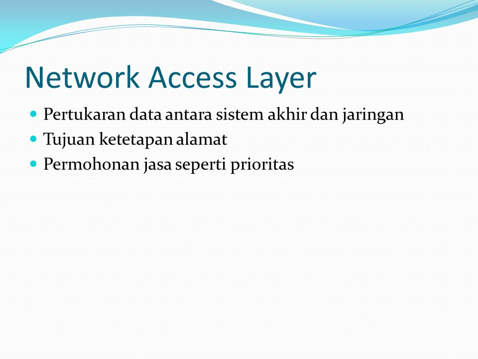 Network Access Layer Pertukaran data antara sistem akhir dan jaringan