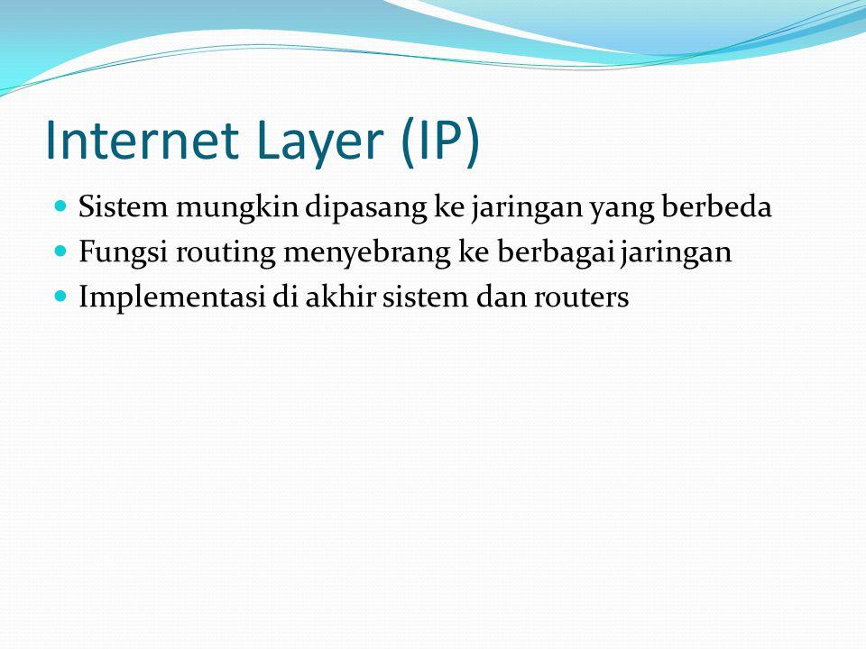 Internet Layer (IP) Sistem mungkin dipasang ke jaringan yang berbeda