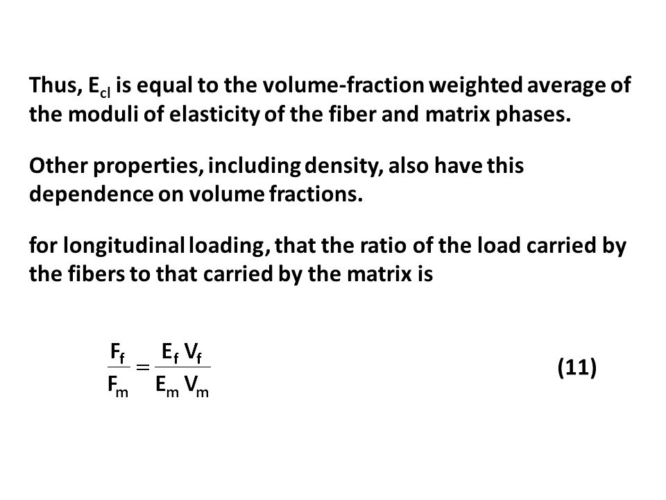 Thus, Ecl is equal to the volume-fraction weighted average of the moduli of elasticity of the fiber and matrix phases.