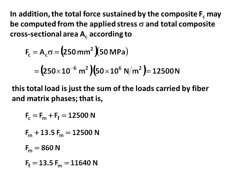 In addition, the total force sustained by the composite Fc may be computed from the applied stress  and total composite cross-sectional area Ac according to