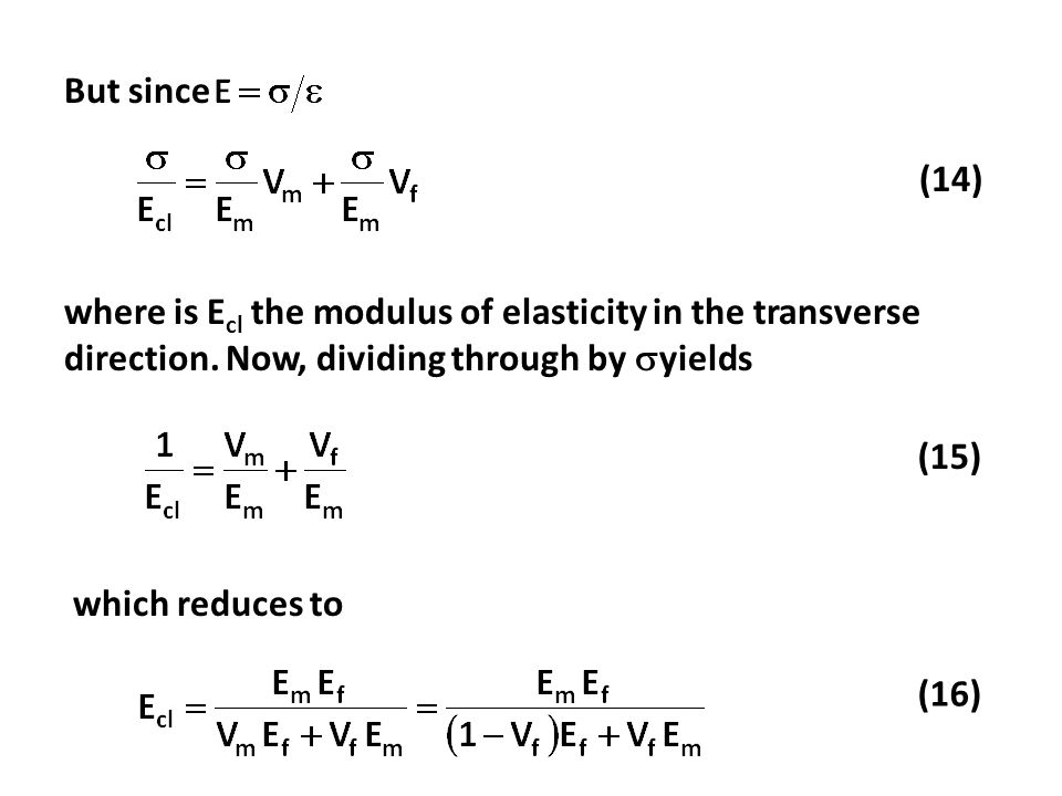 But since (14) where is Ecl the modulus of elasticity in the transverse direction. Now, dividing through by yields.