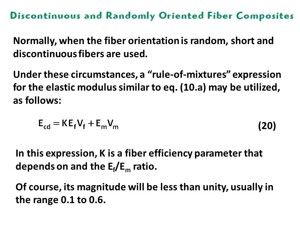 Normally, when the fiber orientation is random, short and discontinuous fibers are used.