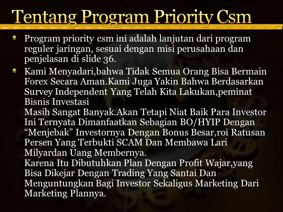 Tentang Program Priority Csm