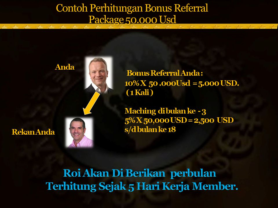 Contoh Perhitungan Bonus Referral Package 50.000 Usd