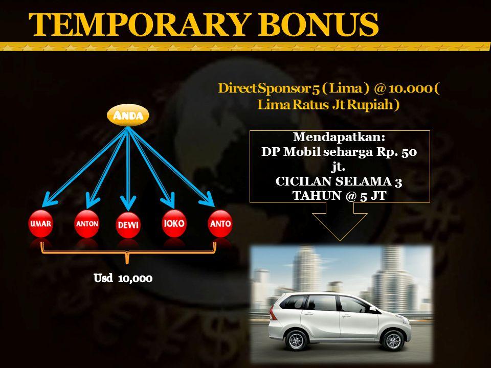 TEMPORARY BONUS Direct Sponsor 5 ( Lima ) @ 10.000 ( Lima Ratus Jt Rupiah ) Mendapatkan: DP Mobil seharga Rp. 50 jt.
