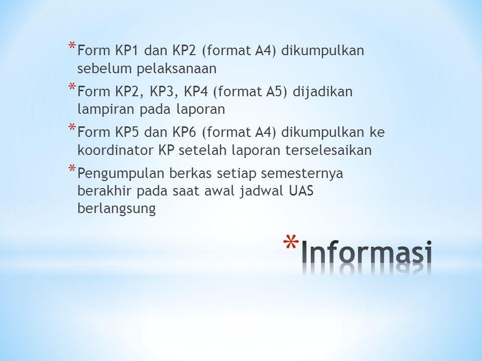Informasi Form KP1 dan KP2 (format A4) dikumpulkan sebelum pelaksanaan