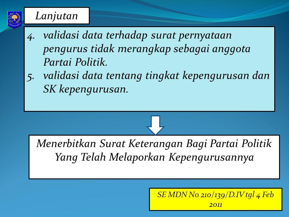 validasi data tentang tingkat kepengurusan dan SK kepengurusan.