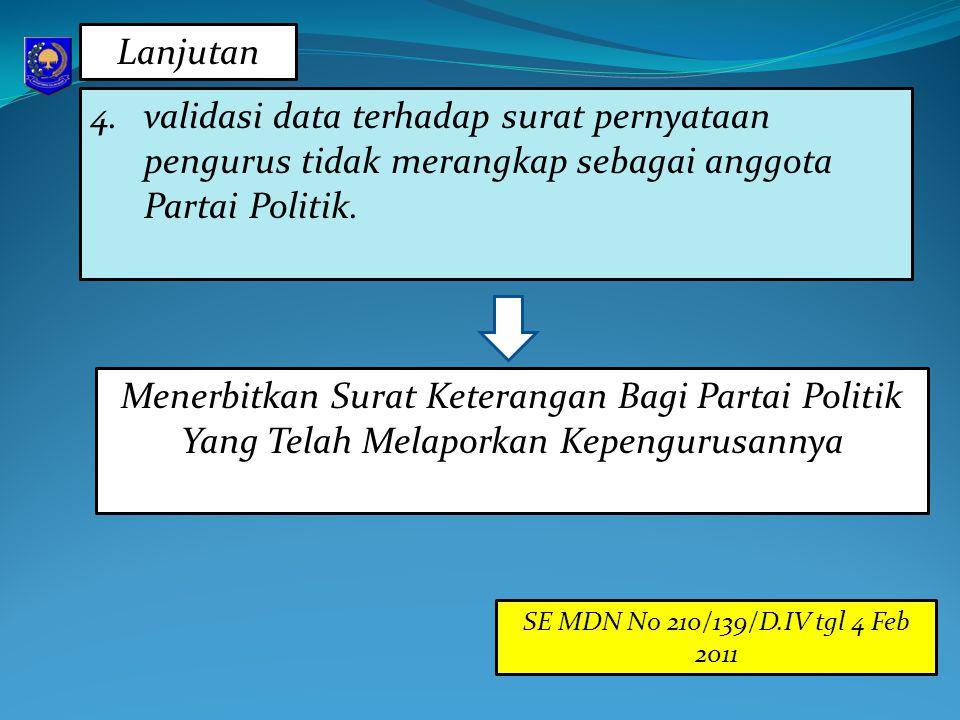Lanjutan validasi data terhadap surat pernyataan pengurus tidak merangkap sebagai anggota Partai Politik.