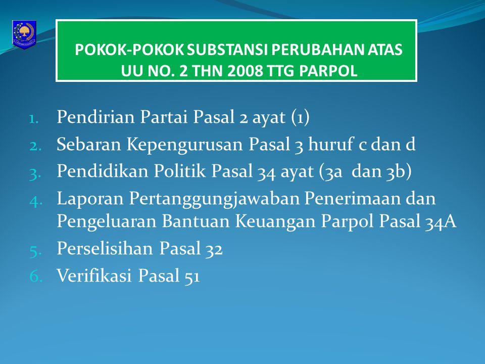 POKOK-POKOK SUBSTANSI PERUBAHAN ATAS UU NO. 2 THN 2008 TTG PARPOL