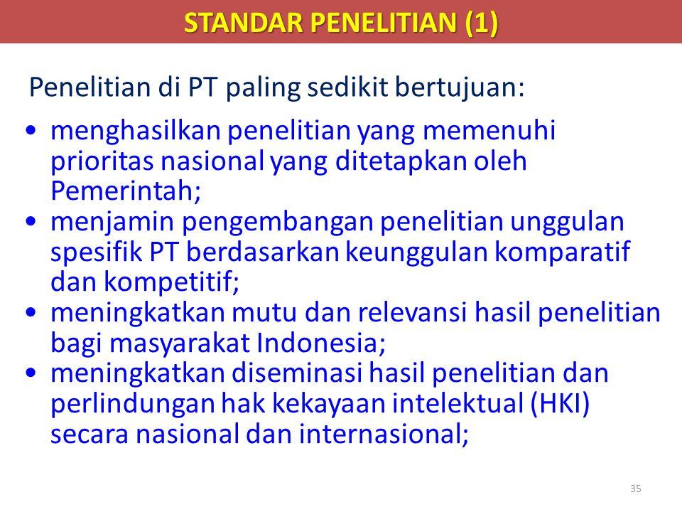 STANDAR PENELITIAN (1) Penelitian di PT paling sedikit bertujuan: