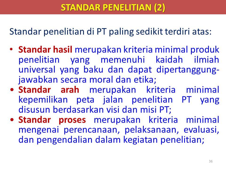 STANDAR PENELITIAN (2) Standar penelitian di PT paling sedikit terdiri atas: