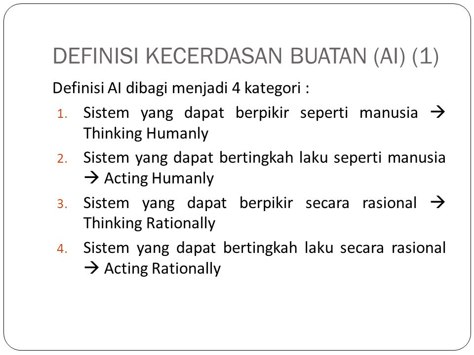 DEFINISI KECERDASAN BUATAN (AI) (1)