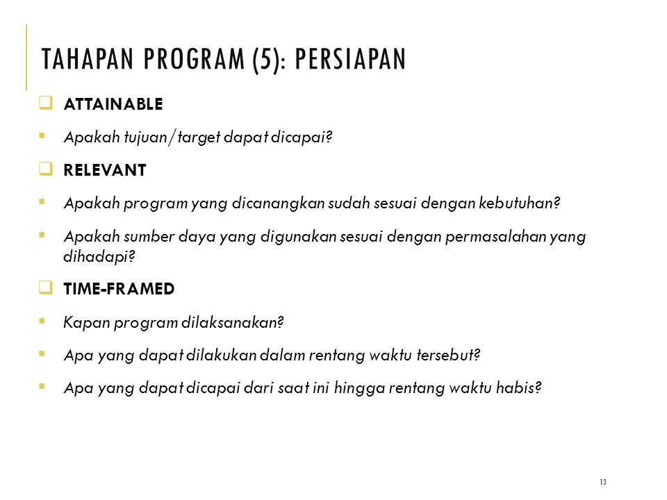 TAHAPAN PRoGRAM (5): PERSIAPAN