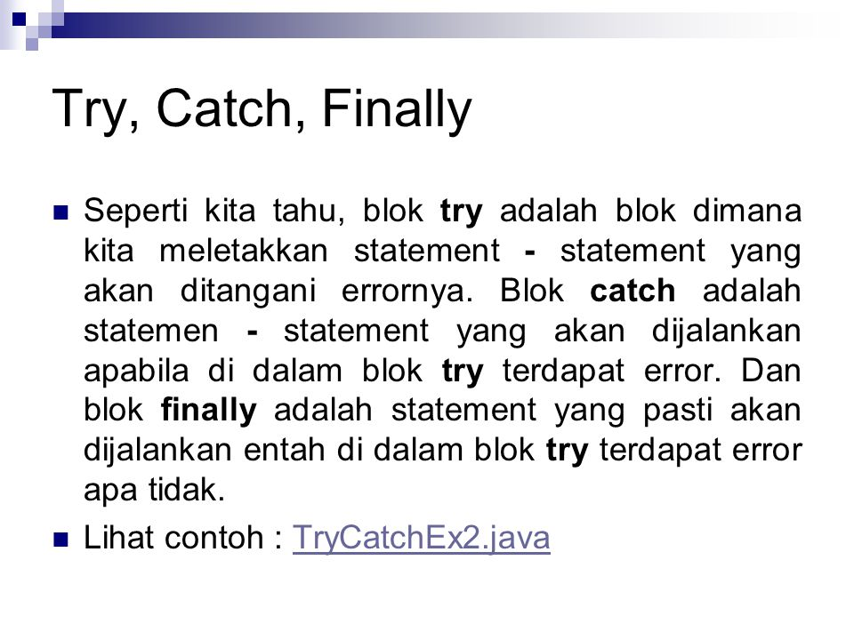 Try, Catch, Finally