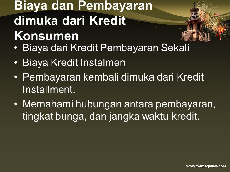 Biaya dan Pembayaran dimuka dari Kredit Konsumen