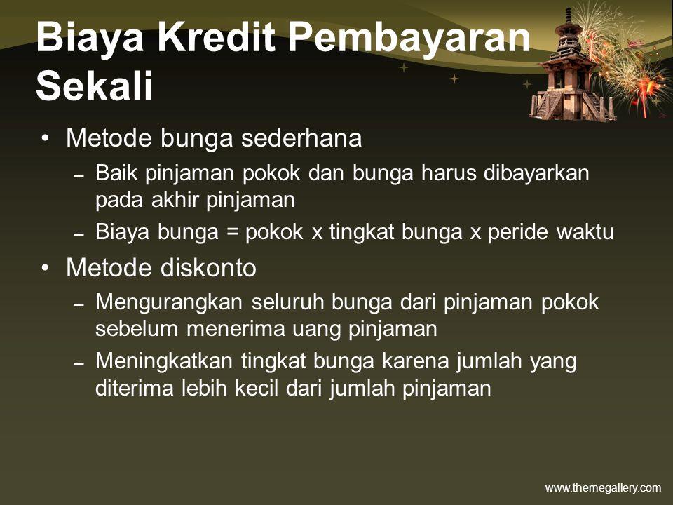 Biaya Kredit Pembayaran Sekali