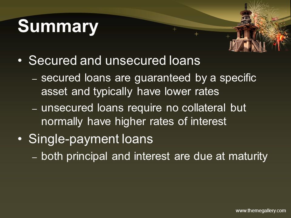 Summary Secured and unsecured loans Single-payment loans