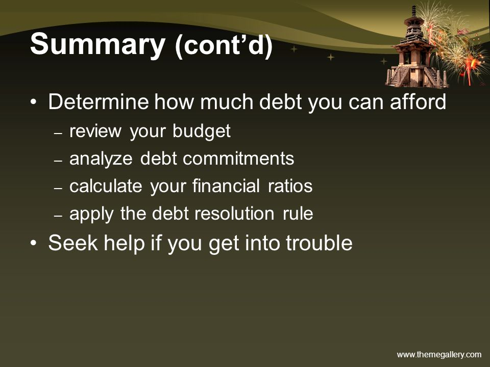Summary (cont'd) Determine how much debt you can afford