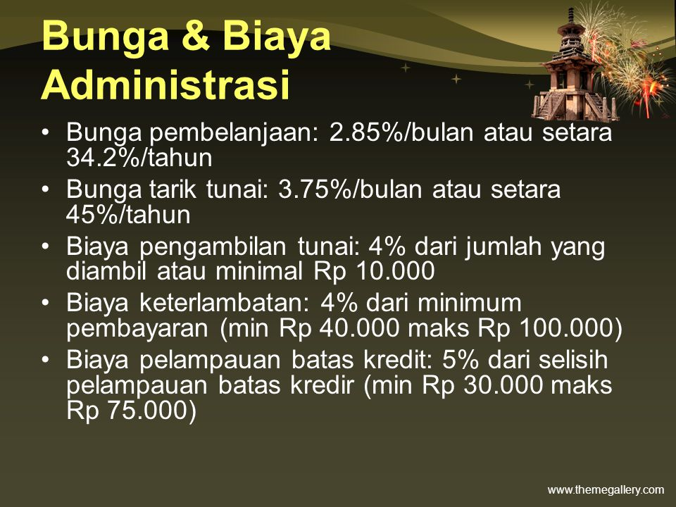 Bunga & Biaya Administrasi