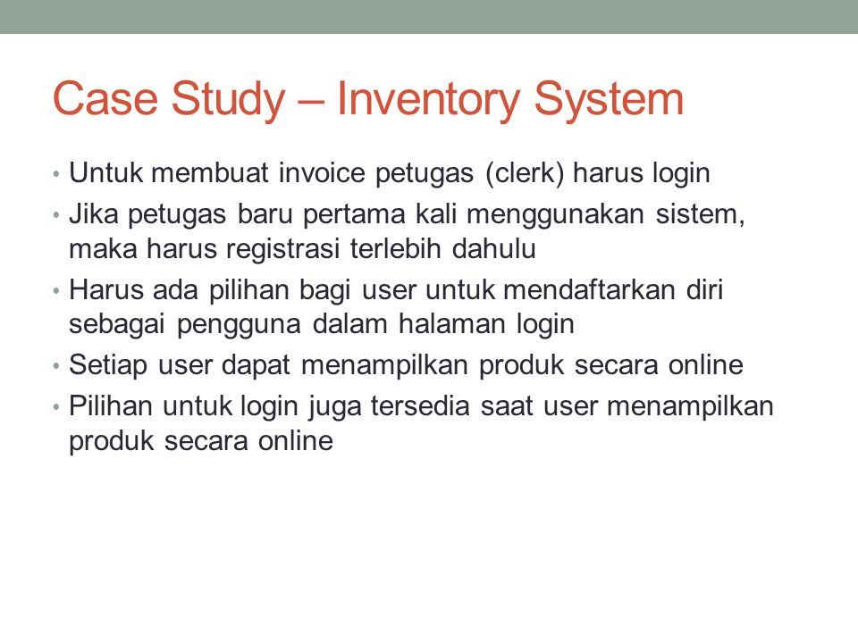 Case Study – Inventory System