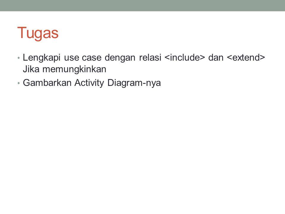 Tugas Lengkapi use case dengan relasi <include> dan <extend> Jika memungkinkan.