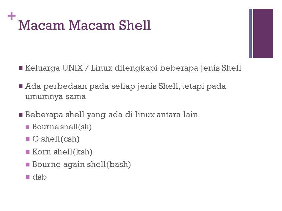 Macam Macam Shell Keluarga UNIX / Linux dilengkapi beberapa jenis Shell. Ada perbedaan pada setiap jenis Shell, tetapi pada umumnya sama.